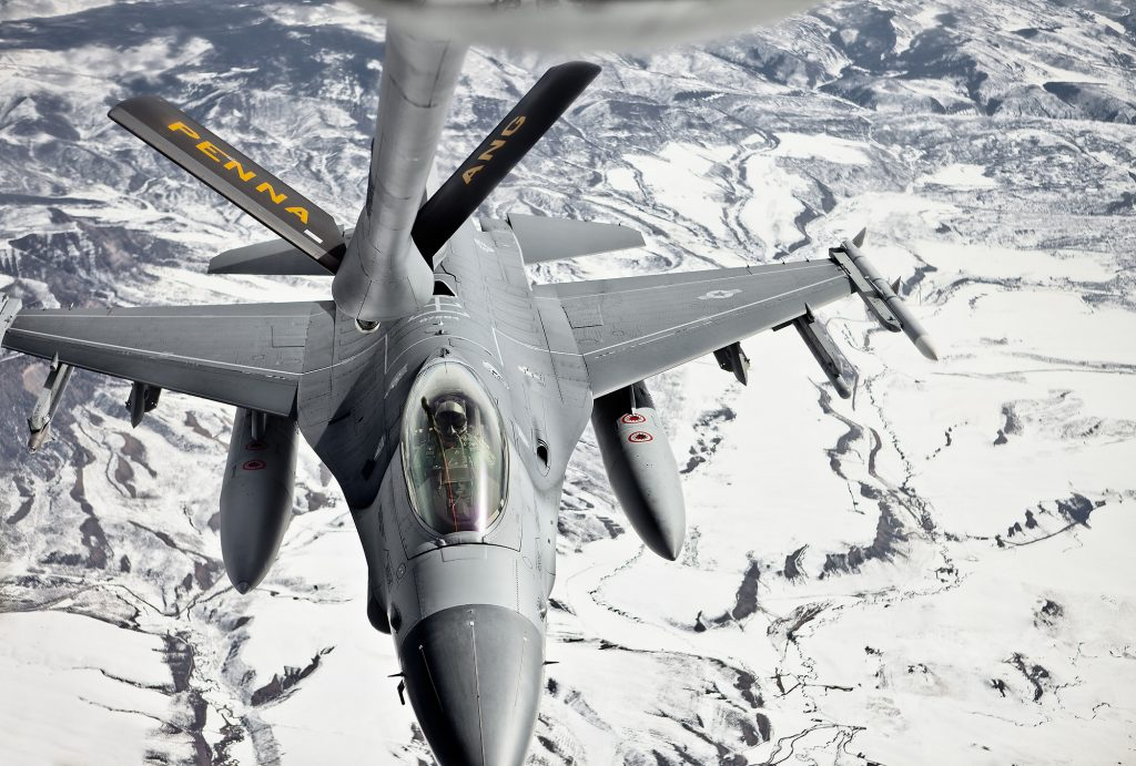 140th Wing at Buckley Air Force Base performs a mid air refueling mission over Western Colorado and Salt Lake City, UT.