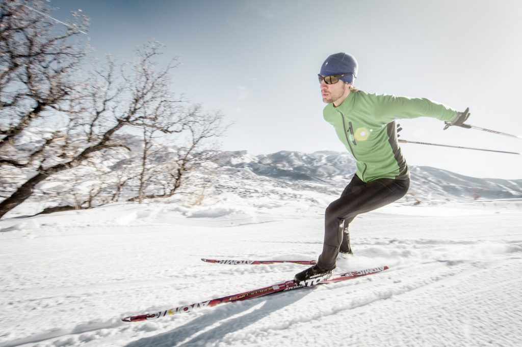 This Athlete Portrait Shows A Cross-country Skier Covering Miles on Groomed Trails with Fresh Powder in the Mountains Around Aspen.