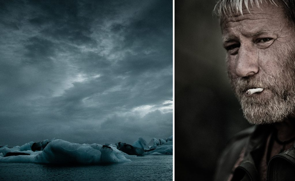 Powerful Grays and Blues of Icebergs Contrast with the Monochromatic Image of a Rugged Deep Sea Fisherman in Iceland.