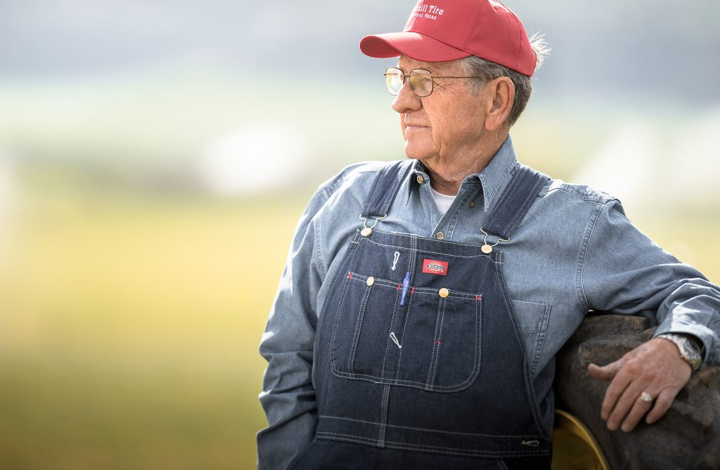 A Third Generation Organic Farmer Looks Across His Hay Fields. This is a Portrait of a Senior Citizen Still Working His Land.