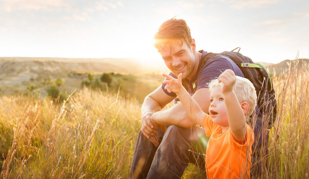 Actor Josh Duhamel Enjoys Spending Time with his Family in the Black Hills of South Dakota. Originally Part of a Tourism Campaign Promoting the State, this Image is About Family in the Outdoors.