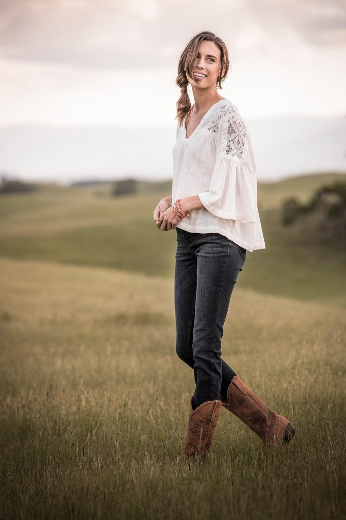 In this Professional Photography Shoot, a Model Poses in Wrangler Brand Clothing in the Mountains Near Carbondale, Colorado.