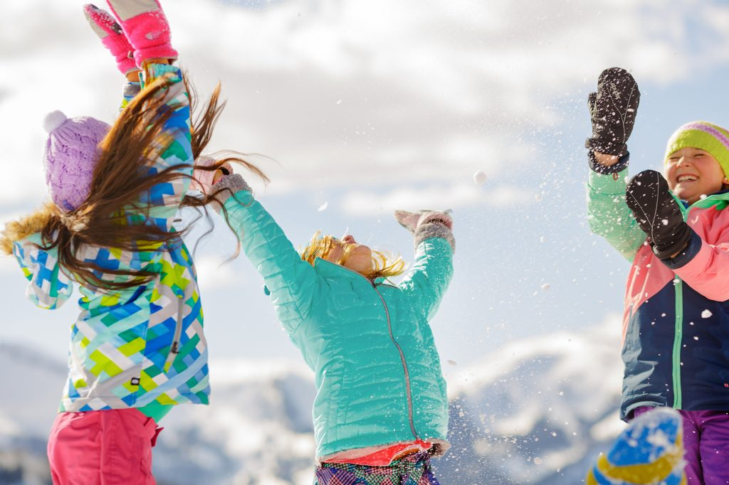 This Joyful, Active Photograph was Part of a Photograph Campaign for Snowmass, Colorado. Kids Playing in the Snow is an Iconic Image for Life in the Mountains.