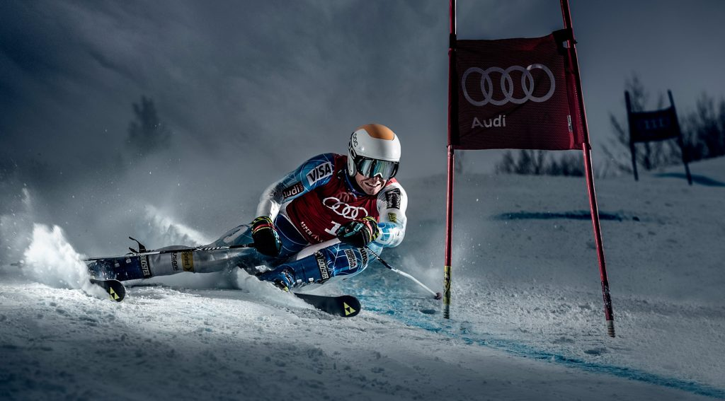 Extreme Downhill Skiing Photographer, Tyler Stableford, Captures this Intense Moment in Giant Slalom near Aspen, Colorado.