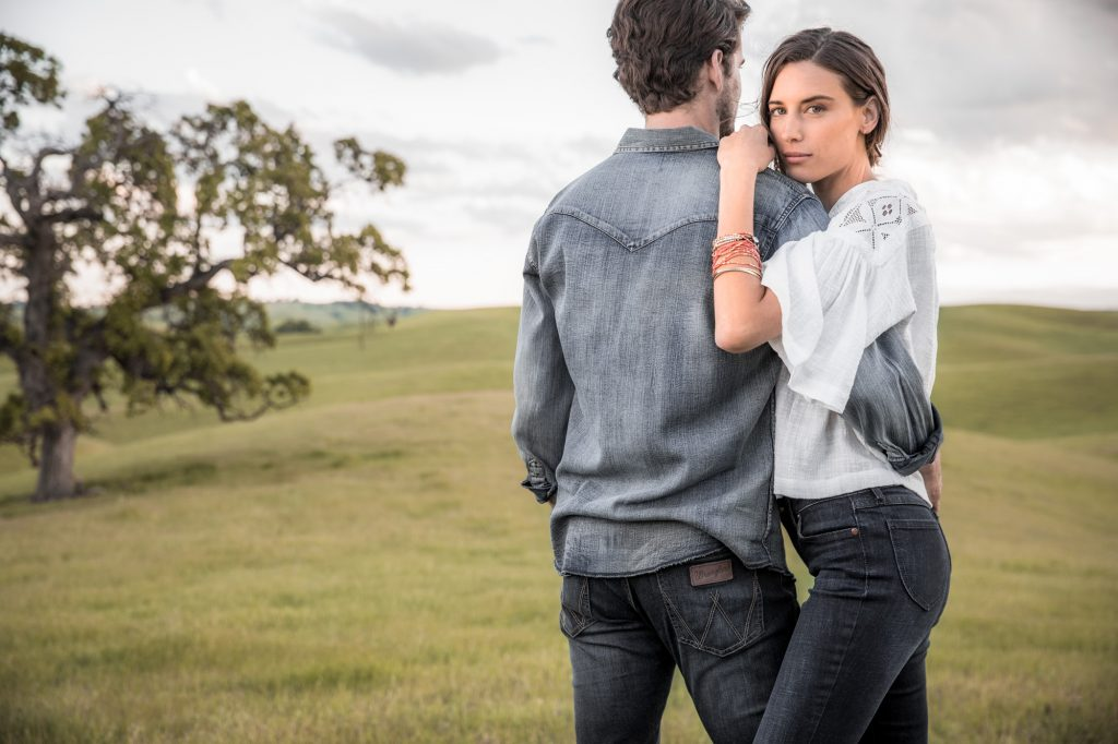 Wrangler Jeans and Casual Apparel are a Part of Western Lifestyle. Male and Female Models Pose for this Beautiful Photograph on a Western Ranch.